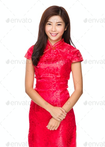 Young woman with traditional cheongsam