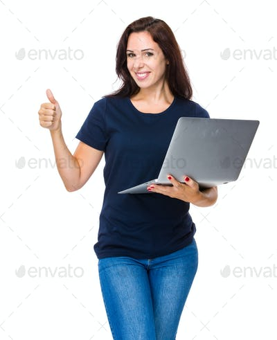 Brunette Woman with laptop and thumb up