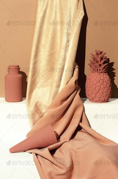 Golden textile and winter creative decor. Holiday,christmas,  concept. Still life new year wallpaper
