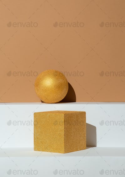 Figures, golden ball and cube geometry. Abstraction minimal still life. Holiday, christmas concept