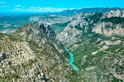 Gorges du Verdon canyon and river aerial view. Alps, Provence, France.
