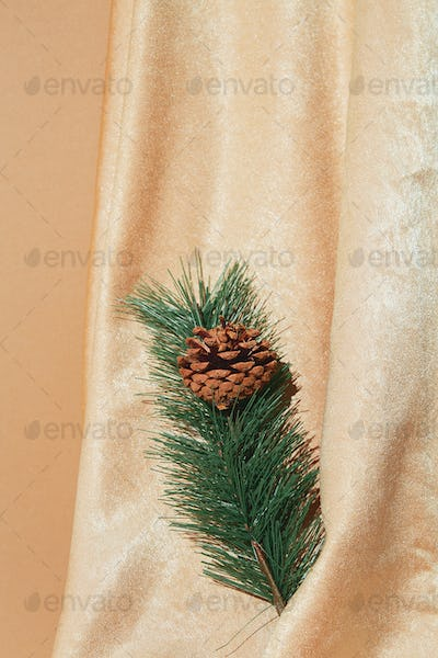 Golden textile andspruce branch decor. Holiday,christmas,  concept. Still life new year wallpaper