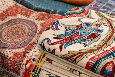Close up of traditional Turkey rugs oriental craft and decor of interior