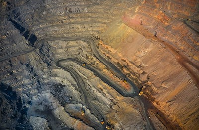 Aerial view of southern mining factory, mine quarry in Ukraine