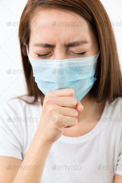 Asian woman cough with protective mask