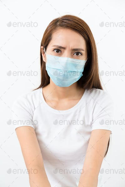 Woman wear mask with eye frown