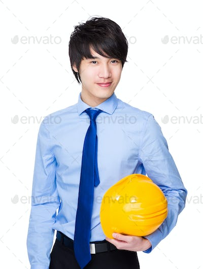 Young engineer hold with safety helmet
