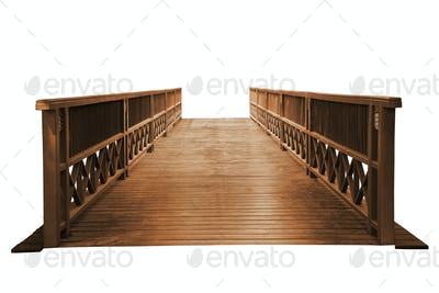 Old wooden bridge isolated.