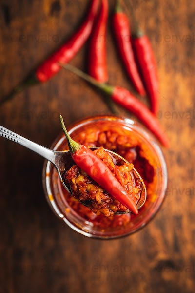 Red hot chili paste and chili pepper