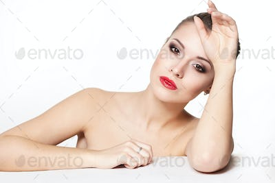 Model with red lips in studio