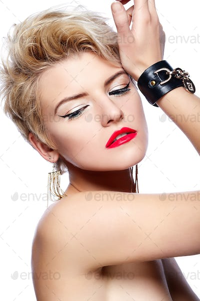 Beautiful blond woman with short hair