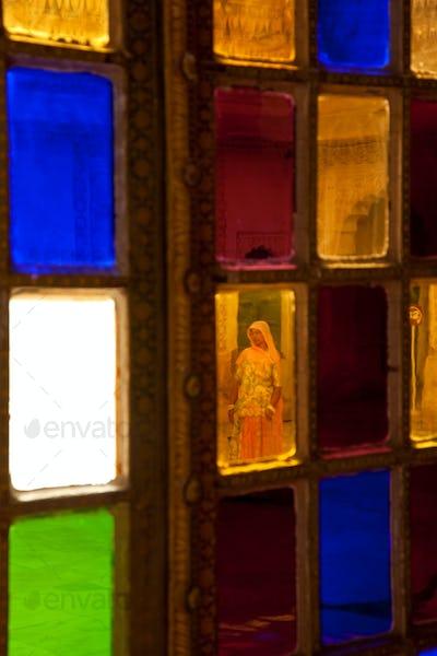 Stained glass windows, Meherangarh Fort, Jodhpur, Rajasthan, India