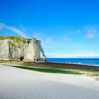 Etretat Aval cliff landmark and its beach. Normandy, France.