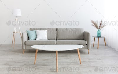 White table, modern sofa with white and blue pillows, lamp and vase with dry plants at home with