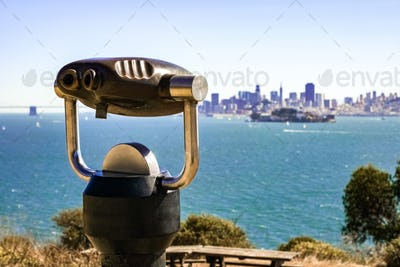 Telescope looking towards San Francisco from Angel Island