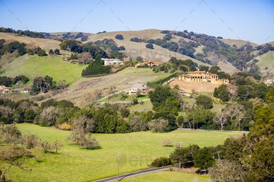 Landscape of the hills and valleys of Contra Costa county, east San Francisco bay area, California