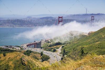 Golden Gate bridge and highway 101, San Francisco bay area, California