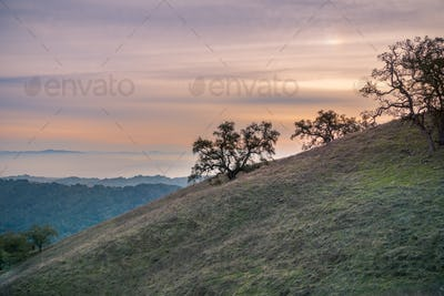 Colorful sunset sky in Henry W. Coe State Park, south San Francisco bay, California