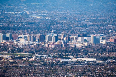 Aerial view of the buildings in downtown San Jose on a clear day; Silicon Valley, California