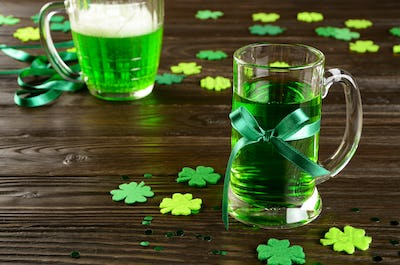 set with pint of green beer