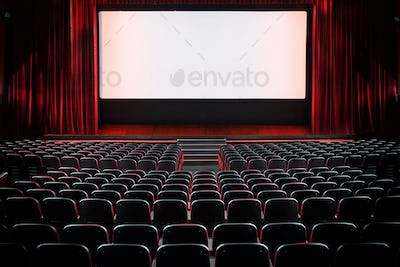 Auditorium of an empty movie theatre and stage