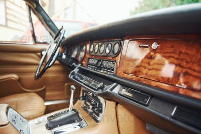 Close up view of front part of luxury old retro automobile