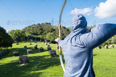 Unidentified person practicing archery