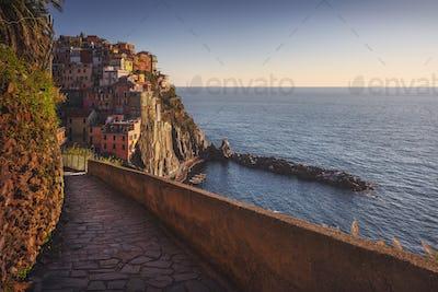Manarola village, stone trekking trail. Cinque Terre, Italy