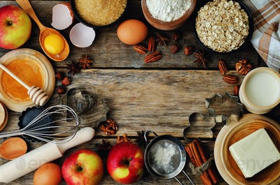 baking ingredients: apples, nuts, honey, flour and butter
