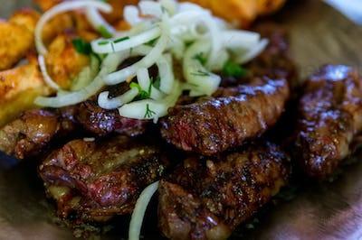 Close up of Balkar lamb liver shashlik named Zhal baur