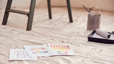 Close Up Of Color Charts With Paint Roller And Step Ladder In Room Being Decorated