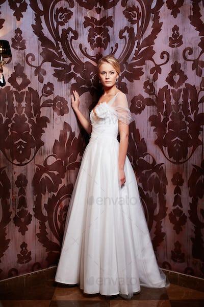 Portrait of beautiful bride  woman in wedding dress