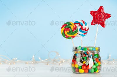 Various candy in glass can