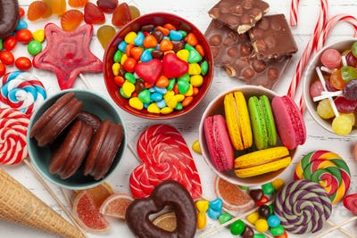 Various sweets assortment. Candy, bonbon, macaroons