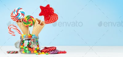 Various candy sweets and lollipop
