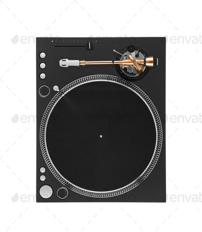 vintage turntable, view from above