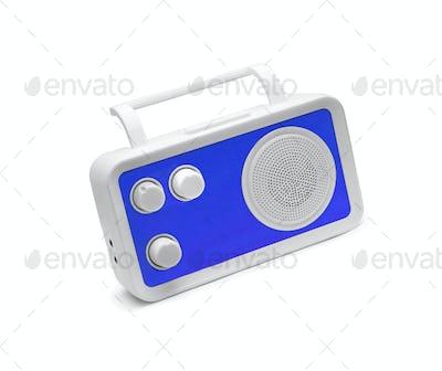 Blue Old fashioned radio isolated