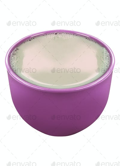 Clay pot with milk isolated