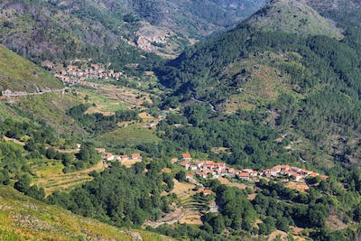 Tibo and other small villages from Miradouro do Vale da Peneda, Peneda Geres national park, Portugal