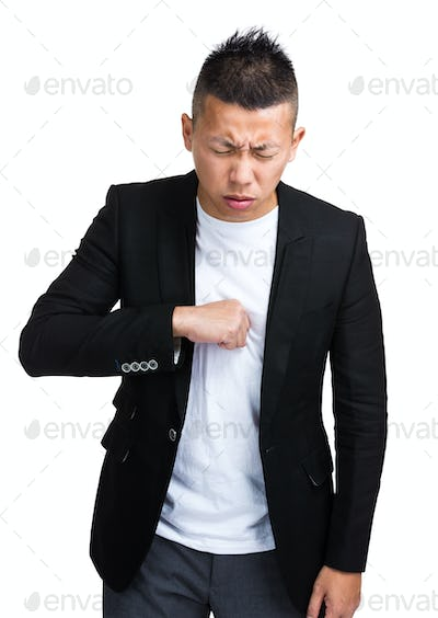 Strongly coughing man