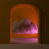 Beautiful cloud inside a room, magical abstract background wallpapers. 3d rendering