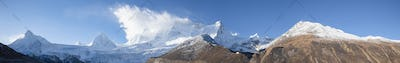 Panorama view of beautiful snow mountains in Tibet,China