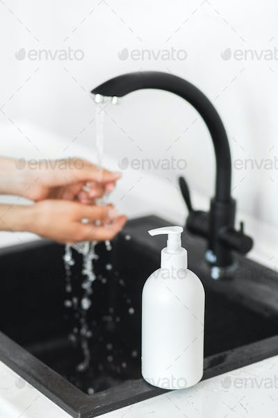 Prevention of coronavirus. Washing hands with soap and use antiseptic. Covid-19 pandemic