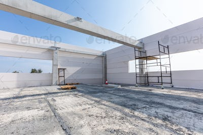 Warehouse construction site. Building a new industrial hall