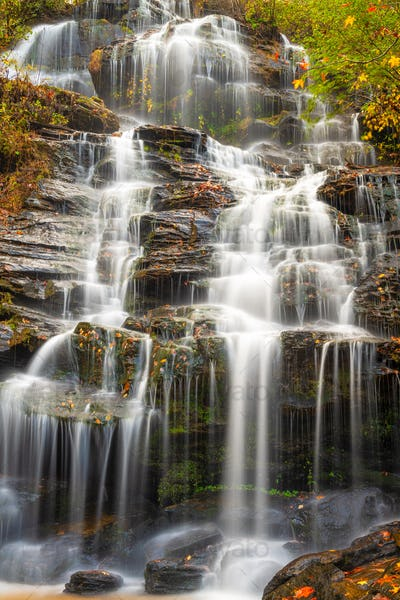 Issaqueena Falls during autumn season in Walhalla, South Carolina