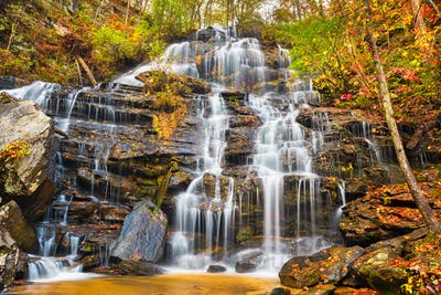 Issaqueena Falls during autumn season in Walhalla, South Carolina