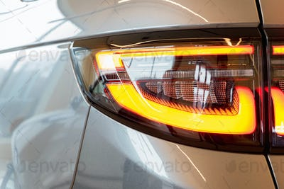 Close up detail of the red car rear light