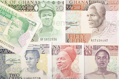 Old Ghanaian Cedis a background