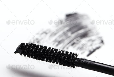 Brush of black mascara for eyes