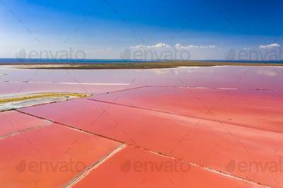 Aerial view of the salty pink lake. Pink Salt Lake Torrevieja